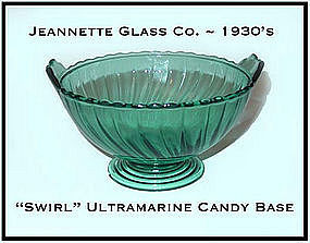 Ultramarine Swirl Footed Candy Base Only