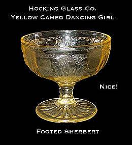 "Hocking Yellow Cameo ""Dancing Girl"" Footed Sherbert"
