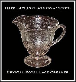Hazel Atlas Royal Lace Crystal Footed Creamer
