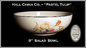 "Hall China Pastel Tulip 9"" Salad Bowl"