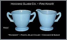 Hocking~1930s Pastel Rainbow Blue Creamer N' Sugar
