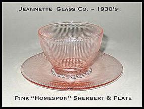 Jeannette Glass Homespun Sherbert & Plate 2 pc Set