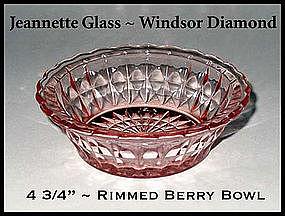 Jeannette Glass~Windsor Diamond~Pink Rimmed Berry Bowl