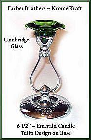 Cambridge Farber Bros Emerald Krome Kraft Tall Candle