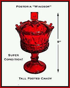 Fostoria Crown Windsor Ruby Ftd Chalice & Cover
