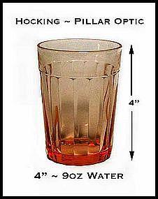 "Hocking Pillar Optic Pink 4"" Water Glass ~ 1930's"