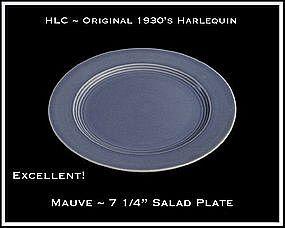 "HLC Harlequin Original 1930's Mauve 7"" Salad Plate"