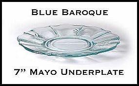 """Fostoria Blue Baroque 7"""" Mayo Under/Plate~Excellent!"""