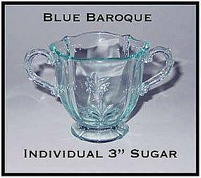 Fostoria Blue Baroque Footed Individual Sugar Bowl