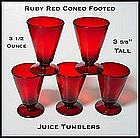 Hocking Ruby Red 5 Coned Juice Tumblers ~ 3 1/2 oz