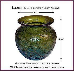 Loetz Iridescent Green Art Glass Vase ~ Superb!