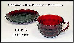 Fire King Royal Ruby Red Bubble Cup ~ Plus Saucer
