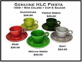 HLC Fiesta Genuine Original 1949 Cups and Saucers