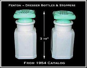 Fenton Dresser Bottles W/Robin Egg Blue Stoppers~1950's