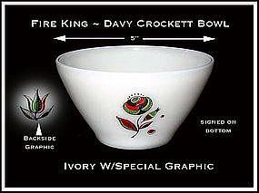 Fire King ~ Davy Crockett Bowl ~ Unusual Decoration