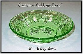 """Green Sharon Cabbage Rose 5"""" Berry Bowl-Federal"""