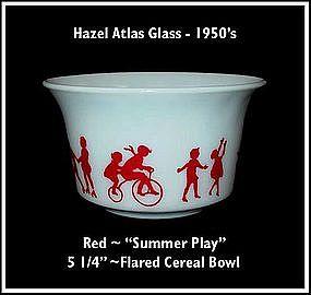"Hazel Atlas Childs Red~""Summer Fun""~ Flared Cereal Bowl"