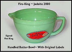 Fire King 2000 Jadeite Handled Batter Bowl~Org Labels