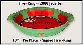 """Fire King 2000 Jadeite 10"""" Pie Dish ~ Org Labels"""