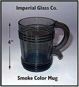 Imperial Glass ~ Smoke Colored 12 oz Handled Mug