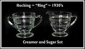 "Hocking Crystal ""Ring"" Footed Creamer & Sugar Bowl"