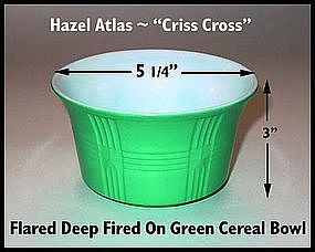 Hazel Atlas Criss Cross Fired On Green Deep Cereal Bowl