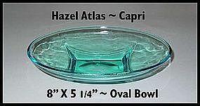 Hazel Atlas ~ Blue Capri ~ Oval Bowl
