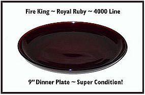 "Fire King~Royal Ruby~4000 Line 9"" Dinner Plate"