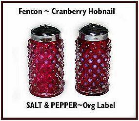 Fenton ~ Cranberry Hobnail ~ SALT & PEPPER W/Org Label