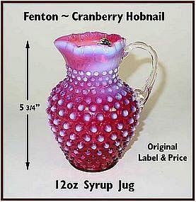 Fenton ~ Cranberry Hobnail~ 12 oz Syrup Jug W/Org Label
