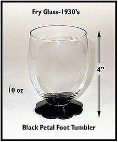 Fry Glass ~ 1940's ~ Black 10 oz ~ Petal Foot Tumbler