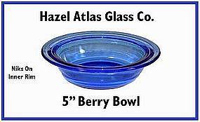 Hazel Atlas Moderntone Cobalt Berry Bowl~niks