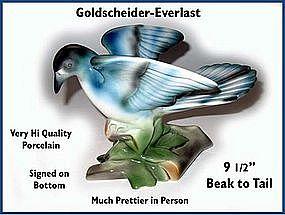 Porcelain ~ Goldscheider ~ Large Blue Bird Figurine