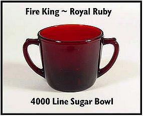 Fire King ~ Royal Ruby ~ 4000 Line ~ Sugar Bowl
