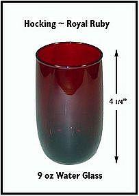 Hocking ~ Royal Ruby ~ 9 oz Water Glass