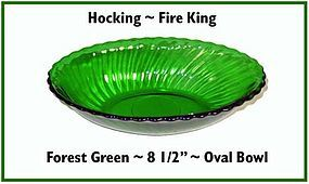 """Hocking Fire King Forest Green 8 1/2"""" Oval Bowl"""