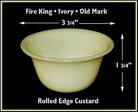 Fire King Early Ivory Rolled Edge Custard Dish