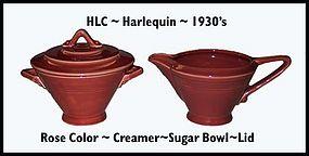 HLC Harlequin Original Rose Color Creamer•Sugar•Lid•