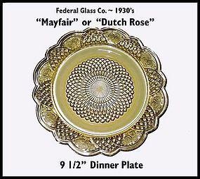 """Mayfair or Rosemary """"Dutch Rose"""" Dinner Plate"""