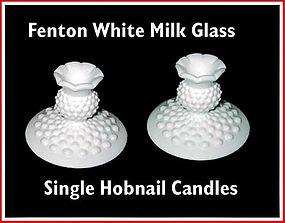 Fenton White Milk Glass Hobnail Single Candles