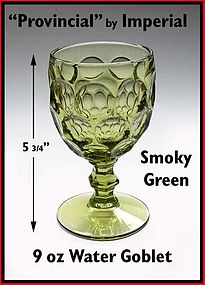 Heisey Provincial by Imperial Smoky Green Water Goblet