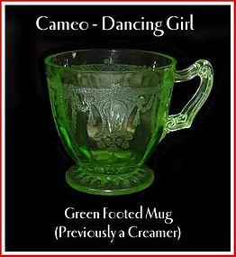 "Cameo ""Dancing Girl"" Green Footed Mug/Creamer"