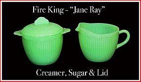 Fire King Jadeite Jane Ray ~ Creamer ~ Sugar & Lid