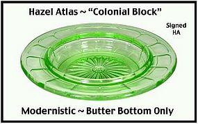 Hazel Atlas Green Colonial Block Butter Dish Base
