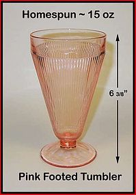 Jeannette Glass Homespun Footed 15 oz Tumbler