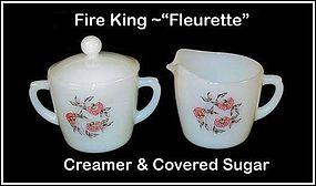 "Hocking Fire King ""Fleurette"" Creamer Sugar & Lid"