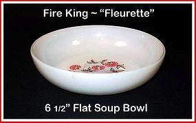 """Fire King Fleurette 6 1/2"""" Flat Soup Bowl"""