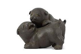 Japanese bronze puppy Okimono