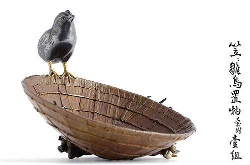Japanese silver Chick on Straw Hat Okomono from Emperor Taisho