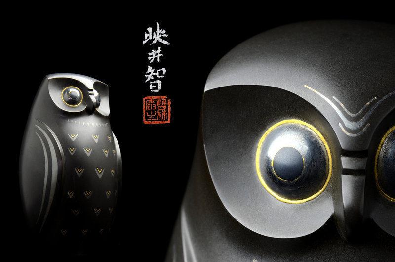 Japanese bronze Owl okimono made by Kanamori Eiichi